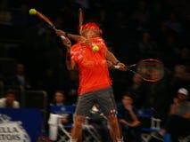 Joueur de tennis professionnel Kei Nishikori du Japon dans l'action pendant événement de tennis d'anniversaire d'épreuve de force Image stock