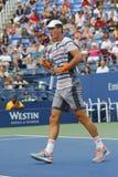 Joueur de tennis professionnel Tomas Berdych de République Tchèque pendant le match 3 rond de l'US Open 2014 Images libres de droits