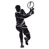 Joueur de tennis, silhouette Photos stock