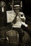 Joueur de trompette, rue de Beale photographie stock libre de droits
