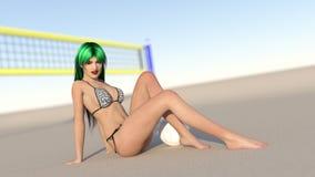 Joueur de volée de plage image stock