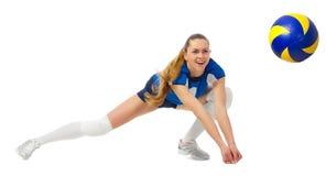 Joueur de volleyball de jeune femme d'isolement Image libre de droits