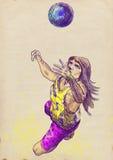 Joueur de volleyball, homme avec le long cheveu Photos libres de droits