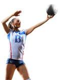 Joueur de volleyball professionnel féminin d'isolement sur le blanc Photos libres de droits