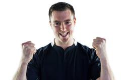 Joueur enthousiaste de rugby hurlant  Photos libres de droits