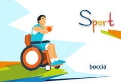 Joueur handicapé de bowling sur la compétition sportive de fauteuil roulant illustration stock