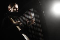 Joueur irlandais d'harpe Harpiste de musicien Photographie stock libre de droits
