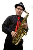 Joueur latin de saxophone d'isolement sur le blanc Image libre de droits