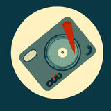 Joueur moderne de disque vinyle de vecteur dans le style plat Photo stock