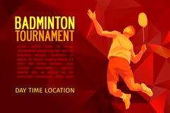 Joueur professionnel de badminton, conception de modèle, illustration de vecteur avec l'espace vide pour l'affiche, bannière, Web Images libres de droits