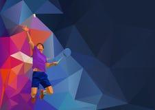 Joueur professionnel polygonal de badminton dessus Images stock