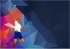 Joueur professionnel polygonal de badminton dessus Photographie stock
