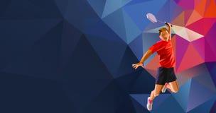 Joueur professionnel polygonal de badminton dessus Images libres de droits