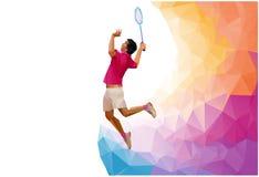 Joueur professionnel polygonal de badminton, pendant le fracas sur le fond blanc illustration libre de droits