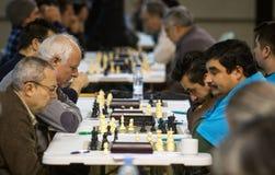 Joueurs d'échecs pendant un tournoi local au loin Photos libres de droits