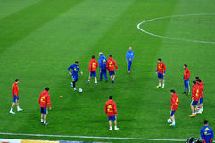 Joueurs d'équipe nationale espagnols du football pendant l'échauffement Photographie stock