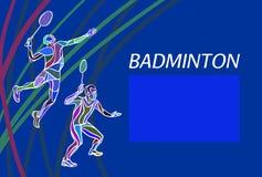 Joueurs de badminton des doubles des hommes Illustration de vecteur de couleur Photo stock