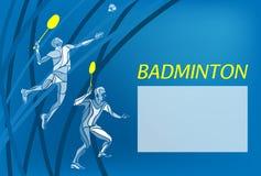 Joueurs de badminton des doubles des hommes Illustration de vecteur de couleur illustration stock