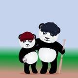 Joueurs de baseball de panda de bande dessinée avec la batte de baseball et la boule sur le fond brouillé illustration stock