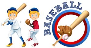 Joueurs de baseball et conception de logo Illustration Stock