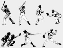 Joueurs de baseball réglés - illustration de croquis Image stock