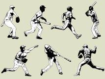Joueurs de baseball réglés - illustration de croquis Image libre de droits