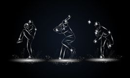 Joueurs de baseball réglés Illustration linéaire métallique de joueur de baseball pour la bannière de sport, fond Illustration de Vecteur