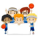 Joueurs de basket masculins tenant un conseil vide illustration stock
