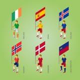 Joueurs de football avec des drapeaux : Le Danemark, Liechtenstein, Espagne, Norw Photographie stock libre de droits
