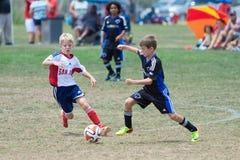 Joueurs de football du football de la jeunesse courant avec la boule image libre de droits