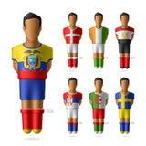 Joueurs de football/football dans l'unifor de drapeaux nationaux Image libre de droits