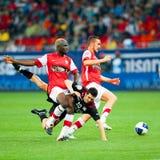 Joueurs de football inconnus Images libres de droits
