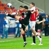 Joueurs de football inconnus Image stock