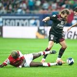 Joueurs de football inconnus Images stock