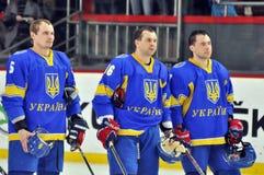 Joueurs de hockey d'équipe nationale ukrainienne Images stock