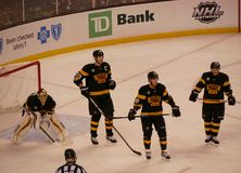 Joueurs de hockey de Boston Bruins images stock