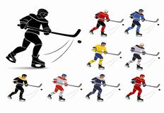 Joueurs de hockey de glace dans l'ensemble national de débardeur illustration stock