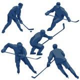 Joueurs de hockey de glace de silhouettes : défenseurs, en avant et gardien de but Image stock