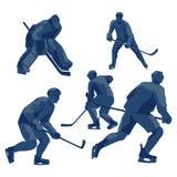 Joueurs de hockey de glace de silhouettes : défenseurs, en avant et gardien de but Photographie stock