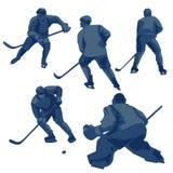 Joueurs de hockey de glace de silhouettes : défenseurs, en avant et gardien de but Photographie stock libre de droits