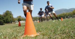 Joueurs de rugby courant le zigzag dans le domaine 4K 4k banque de vidéos