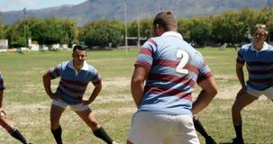 Joueurs de rugby exécutant étirant des contributions indirectes dans le domaine 4K 4k banque de vidéos