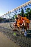 Joueurs de tennis au réseau Photographie stock libre de droits