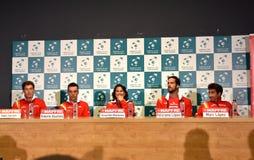 Joueurs de tennis espagnols pendant une conférence de presse de Davis Cup Images libres de droits