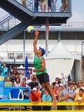 joueurs de volleyball de plage Photo stock