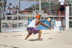 Joueurs de volleyball de plage d'hommes Championnat national italien images libres de droits