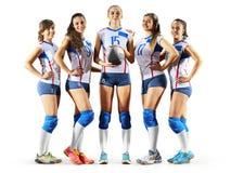 Joueurs de volleyball professionnels féminins d'isolement sur le blanc Photo stock