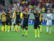 Joueurs des applaudissements de Manchester City Photographie stock libre de droits
