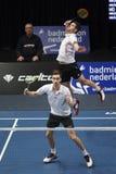 Joueurs Jacco Arends et Jelle Maas de badminton Photographie stock libre de droits
