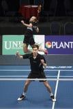 Joueurs Jacco Arends et Selena Piek de badminton Image libre de droits